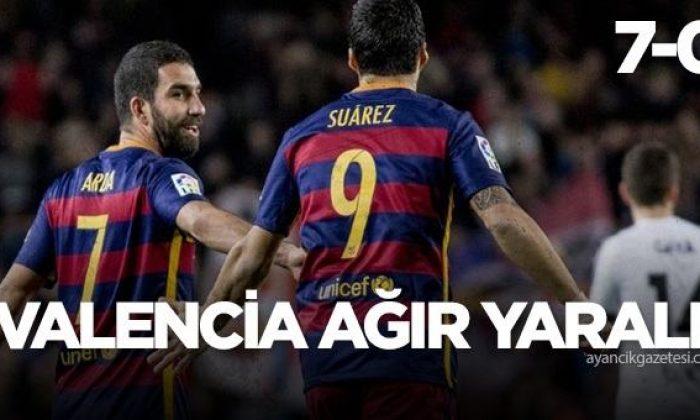 Valencia dağaldı, Barca 7 attı! Arda Turan'dan asist..