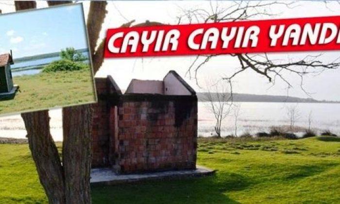 Sarıkum'da Gözlem Evi Yandı