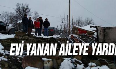 Sinop'ta evi yanan aileye yardım