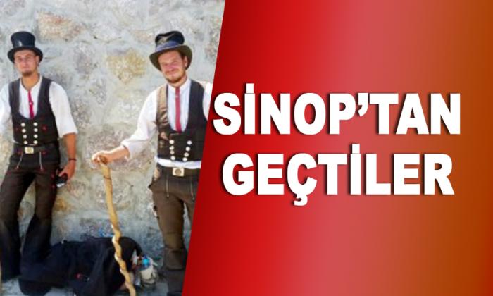 Bastonlu Alman gezginler Sinop'tan geçti