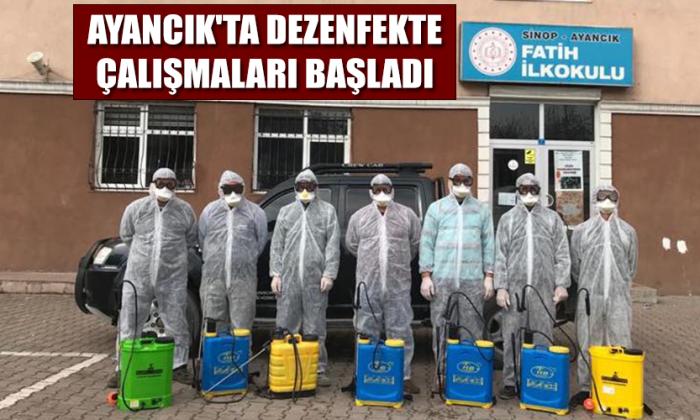 Ayancık'ta dezenfekte çalışmaları başladı