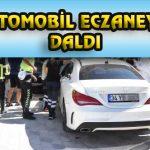 OTOMOBİL ECZANEYE DALDI