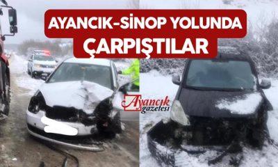 Ayancık-Sinop Yolunda İki Araç Çarpıştı