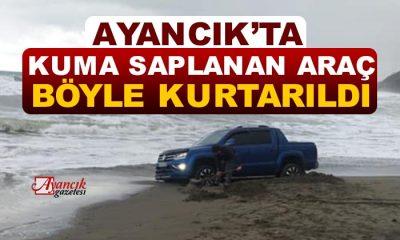 Ali Köyü Plajında Kuma Saplanan Araç Kurtarıldı