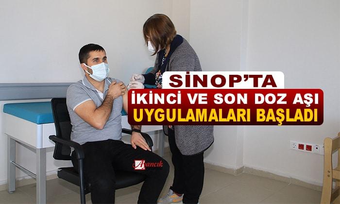 Sinop'ta sağlık çalışanlarına yönelik ikinci ve son doz aşı uygulamaları başladı
