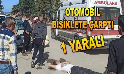 OTOMOBİL BİSİKLETE ÇARPTI